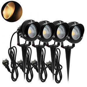 4 pièces 7W Spot LED Extérieur avec Prise Éclairage Extérieur LED à Piquer Lampe Jardin étanche IP65 Blanc Chaud (UISEBRT, neuf)