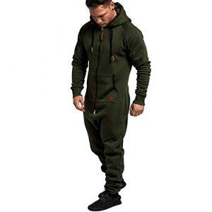 Combinaison Pyjama Homme Ensembles Capuche Grenouillere Long Adulte Salopette Jumpsuit Imprimé Zip Pantalon de Sports Muscle Zipper Youngii(Armée Verte B,XL) (Youngii, neuf)