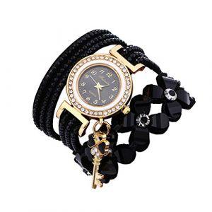 Montre Bracelet Femmes Pas Cher Oyedens Montres Bracelet pour Femme Charme Vintage Weave chaîne Bracelet Femmes Mode Montre-Bracelet Bijoux Cadeaux (Noir) (Oyedens, neuf)
