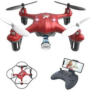 ATOYX AT-96 Drone avec Caméra HD FPV Drone Enfant WiFi Hélicoptère Télécommande avec Mode sans Tête, Maintien d'Altitude, 360°Flips, Mini Cadeau et Jouet pour Enfant ou Débutant - Rouge (HNstars-FR, neuf)
