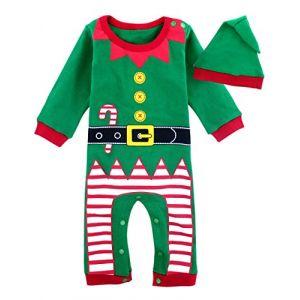MOMBEBE COSLAND Déguisement Elfe Bébé Garçons Noël Barboteuse Costume (3-6 Mois, Vert) (Xiaxin, neuf)