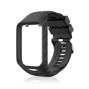 Peedeu pour Tomtom Montre Bracelet Silicone Bracelets de Remplacement pour Tomtom Runner 2 / Runner 3 / Spark 3 / Aventurier/Golfeur 2 Sports GPS Running (zheshang, neuf)