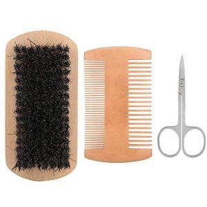 Ensemble d'outils de soins de la barbe, outil de coiffure à la barbe exclusif pour hommes 3 pièces professionnel hommes barbe peigne cheveux moustache brosse ciseaux style barbe(#) (riuty, neuf)