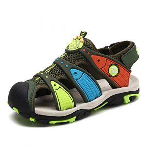 Sandales en d'été pour Garçon Outdoor Nu Pieds Bout Fermé des Chaussures de Parc(Noir-Vert) 30 EU (wyhweilong, neuf)
