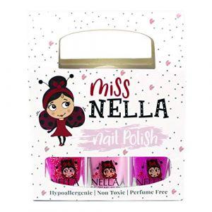 Miss Nella Paillettes Roses- Set de 3 vernis à ongles peel off, sans odeur, sans eau et sauf pour les enfants - Tickle Me Pink, Cheeky Bunny & Sugar Hugs (OMG Marketing Ltd, neuf)