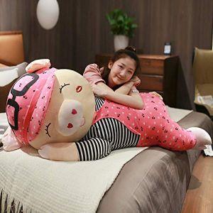 Peluche jouet mignon couché fille de porc poupée dormir cochon cochon long oreiller poupée-Cochon couché (loucher) pastèque rouge_85cm (lizhaowei531045832, neuf)