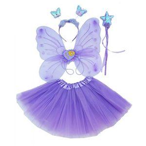 Fun Play TOWO Deguisement de Clochette fée Papillon - Ailes, Baguette, Serre-tête et Tutu - Déguisement Papillon pour Enfants 3 - 8 Ans -Couleur Violet (Toys of Wood Oxford, neuf)