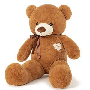 YunNasi Ours en Peluche Géant Nounours Grand Doudou Teddy Doux Ours XL 100CM Marron Foncé Cadeau pour Enfants et Amie (Le Rhin, neuf)