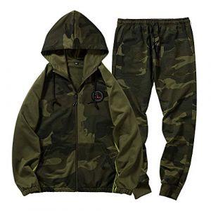 LBL Survêtement Homme Ensemble Camouflage Sportif Sweat-Shirt à Capuche Zippé et Pantalon Cordon de Serrage pour Automne Vert Militaire S (LBL SHOP, neuf)