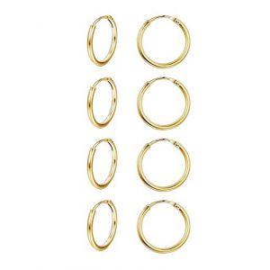 Finrezio Boucles d'Oreilles Créole Piercing Hélix Petites Anneaux en Argent Sterling 925 pour Femmes Homme 4 Paires Or (Finrezio Jewelry, neuf)