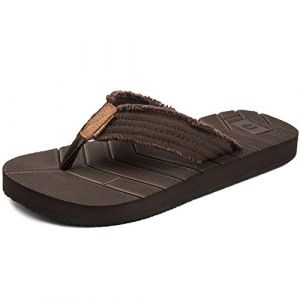 Tongs Sport Ete Hommes Sandales Plage Comfort Chaussures de Piscine Legere Antiderapantes,Marron,41 EU (EU-HUREN, neuf)