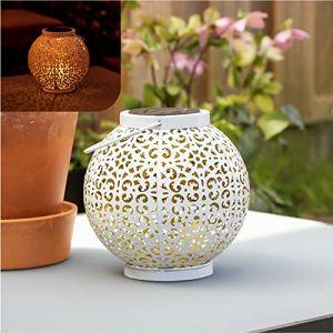Gadgy Lumière solaire exterieur en métal blanc   Lanterne blanche décoratif   Lampe d'extérieur avec design oriental et effet d'ombre (Gadgysales, neuf)