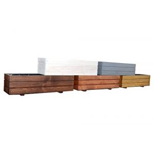 Kena D-6 Jardinière en bois de haute qualité Longueur 60/90cm Länge 90 cm gris (KMLShop, neuf)