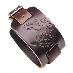 Tête de loup Cuir Bracelet gaufré Punk Rock Personnalité Style Unisexe Vent frais Large Bracelet Loup Motif (Color : Brown) (Nesim Shew, neuf)