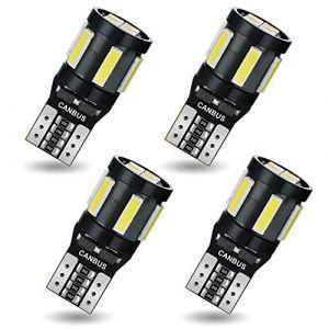 AGLINT T10 W5W Ampoule LED CANBUS Voiture Light 194 168 2825 10SMD LED Ampoules de Remplacement, Intérieur De Voiture Lumièrede Plaque D'immatriculation Blanc, 4 Pièces (AGLINT, neuf)