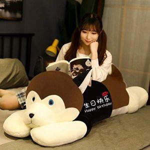 Peluche jouet husky oreiller de sommeil chiffon poupée femelle mignon poupée cadeau d'anniversaire-Brun foncé-joyeux anniversaire_85cm (lizhaowei531045832, neuf)