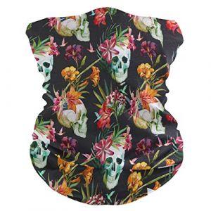 QMIN Bandeau Vintage Tête de Mort Floral Feuilles Bandana Visage Soleil Protection Masque Cagoule Magique Cagoule pour Femmes Hommes Garçons Filles (QMIN, neuf)