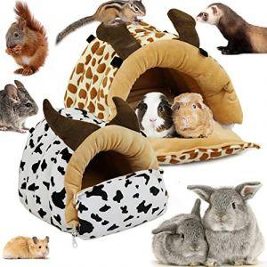 LeerKing Couchage Rongeur Lit Hamac Peluche Maison Mignon Hamster Nid de Compagnie Lapin Jouet Cage pour Cochon d'Inde Ecureuil Furet Chinchilla, Vache XL (DANCEYOU-EU, neuf)