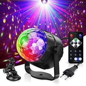 Boule Disco,Gvoo 6 Couleur Lampe de Scène Jeu de Lumiere Lumière Fête 5W LED 7 RGB à Commande Sonore Mini Projecteur Boule Eclairage à Télécommande pour Cadeau Scène Fête Soirée DJ Bars Clubs Karaoké (GVOO Direct, neuf)