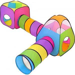 NUBUNI 4 en 1 Pop Up Jouer Tente avec Tunnel, Balle Pit pour Les Enfants, garçons, Filles, bébés et Enfants en Bas âge, Playhouse intérieur / extérieur (NUBUNI, neuf)