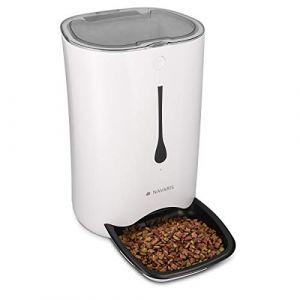 Navaris Distributeur Croquettes Chat Chien Automatique - Gamelle Alimentation Animaux - Programmable 4 Repas par Jour - Enregistrement Vocal - 6L (KW-Commerce, neuf)