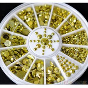 Holzsammlung 1 Boîte de Petit Strass Decoration Ongles Gel Tip Glitter rond Coloré en Résine pour Nail Art Manucure #25 (collecte de bois, neuf)