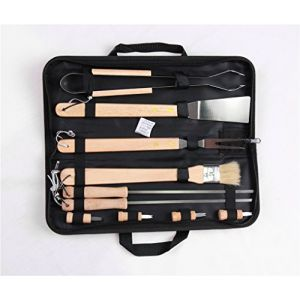Holzsammlung® Set de 10 couverts à barbecue en acier inoxydable dans sa valise (collecte de bois, neuf)