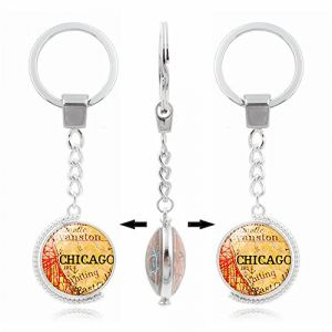 Umerbee Keychain 1pcs rotatif à double face carte de Chicago Porte-clés temps Gems Porte-clés Porte-clés cadeau (Umerbee, neuf)