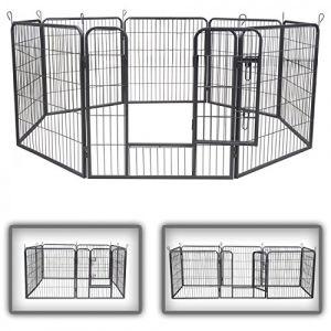 zoomundo Parc Enclos pour Chiens Métal pour Chiots Animaux Grillage Rongeur Petit avec Porte 8 Panneaux - L (MA-Trading, neuf)
