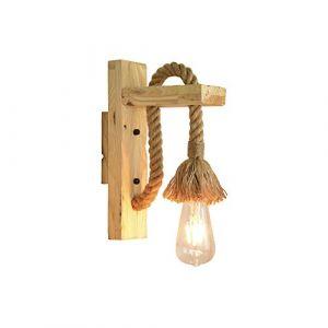 Applique Murale Led Industrielle Applique Décorative En Bois Corde De Chanvre Lampes Murales pour Café Hôtel Restaurant Luminaire E27 Base Edison ampoule Lumière Chaude Inclus (RUIBO GROUP, neuf)