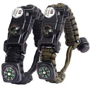 Bracelet Paracorde Survie pour Homme Femme, Militaire Paracord Bracelet Kit avec Flint + Boussole + Thermomètre + Sifflet + Lumière LED pour Extérieur, Randonneur, Baroudeur, Explorateurs (BXooo, neuf)