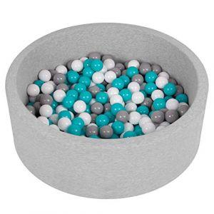 Selonis Piscine À Balles 90X30cm/200 Balles Ronde en Mousse pour Bébé Enfant, Gris Clair: Gris-Blanc-Turquoise (OtherEden &  DUmalDU, neuf)