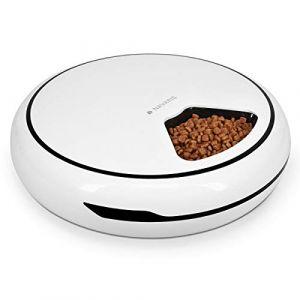 Navaris Distributeur Automatique pour Chat Chien - Mangeoire Programmable 1,6 L - 4 Repas pour Croquette Pâtée - Minuteur - Piles ou Câble USB (KW-Commerce, neuf)