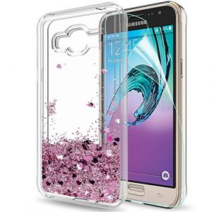 LeYi Coque pour Samsung Galaxy J3 2016, Coque Samsung J3 (SM-J320) Housse Liquide Paillette Etui avec Film de Protection écran HD, Transparente Silicone TPU Bumper Antichoc Brillante Sables Mouvant Soft and Hard Coques Smartphone Telephone pour Galaxy Gal