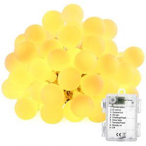 BrizLabs Guirlande Lumineuse, 50 LED Lumières de Boule de Noël 8 Modes avec Fonction Minuterie, Imperméable Guirlande LED Lumineuse pour Intérieur et Extérieur, Chambre, Fête, Mariage(Blanc Chaud) (Vegalife-EU, neuf)