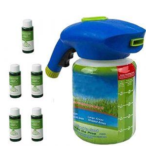 Engrais liquide pour pelouse Système de pelouse liquide Pulvérisateur de semences de gazon pour l'entretien des pelouses de semences Système de semis domestique à prise de (1x Bottle + 5 X Liquid) (YASHILLL, neuf)