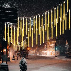 10 Tubes 30CM LED Météore Pluie Lumineuses Guirlandes Solaire,DINOWIN Lumineux Etanche Extérieur Douche Pluie Feux pour Noël Mariage Fête Soirée Maison Arbre Sapin Jardin (Blanc chaud) (tuankayuk, neuf)