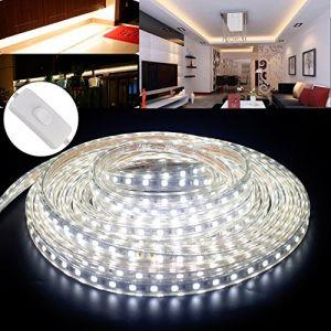 10M Ruban LED Bande avec Interrupteur,LED Flexible 5050 IP65 Waterproof étanche Blanc Froid (Kefflum, neuf)