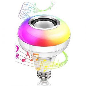 Ampoule de musique à LED, ampoule à LED avec haut-parleur Bluetooth Lampe de couleur changeante RVB avec télécommande pour la maison, la chambre à coucher, le salon, la décoration de fête nécessaire C (DedalanW, neuf)