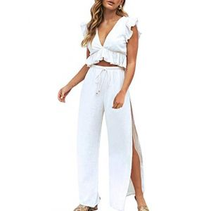 Fancyinn Ensemble Pantalon et Haut Femme Crop Top 2 Pieces Combinaison,Blanc,M(EU 38-40) (Fancyinn Direct, neuf)