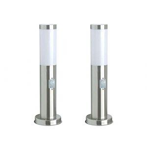 Ranex Lot de 2luminaires en forme de borne avec détecteur de mouvement, hauteur 45cm, balises lumineuses extérieures (setpoint, neuf)