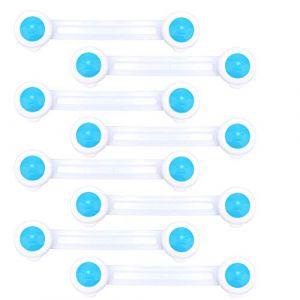 LATTCURE 8 PCS Bloque Porte Placard Enfant Kit de Sécurité Bébé Verrouillage Sécurité pour Réfrigérateur Tiroir Serrure Verrou (Snorkeling Sky, neuf)