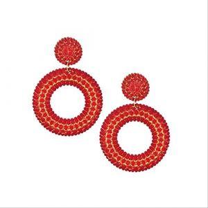 Boucle d'oreille Dangle Fleur Boucles D'oreilles Pour Les Femmes Grand Vintage Géométrique Résine Cristal Boucles D'oreilles Pendantes Boucles D'oreilles Déclarationrouge rond (Graceguoer, neuf)