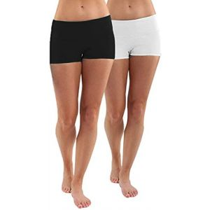 Lot 2X Short Femme Noir+Blanc Pantalons Sport Jogging Capri Yoga Shorts Elastique,XL (Buying Online, neuf)