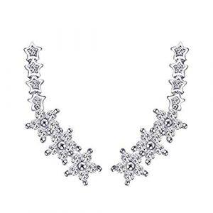 Boucle d'oreille élégante 925 Sterling Silver Star forme zircon cubique strass cristal oreille manchette Climber boucle d'oreille for les filles femmes pour dame (Gordon Cone, neuf)