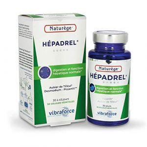 Hépadrel - 90 gélules de 400 mg Très dosées - Détox du foie - Hépatobiliaire (vésicule) - Détox (colon) - Hépato-protecteur (foie) - Aubier de tilleul, Chardon marie, Desmodium... (Hyperbio, neuf)