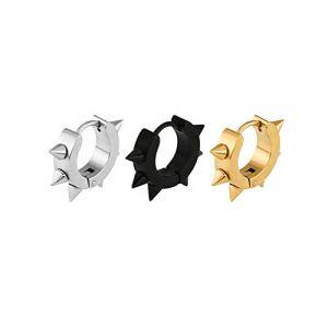 3 Paires Acier Inoxydable Boucle d'Oreille pour Homme Femme Clou d'Oreille Anneau Piercing Oreille 13CM (Jaetech House, neuf)