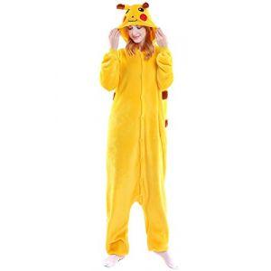 YAOMEI Adulte Unisexe Kigurumi Combinaison Pyjama Onesies, Femme Homme Fleece 3D Anime Onesis Capuche Cosplay Halloween Noël Fête Costume Soirée de Déguisement Vêtement de Nuit (S, Pikachu) (Dolamen EU, neuf)