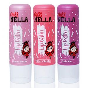 Miss Nella set of 3 Hypoallergenic children Lip Balms- HONEY BUNNY, SWEET CHEEKS & CUTIE PIE, Non Toxic Make Up for kids, perfect for those with sensitive skin. (OMG Marketing Ltd, neuf)