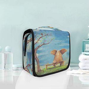 Trousse de maquillage, trousse de toilette, dessin animé, éléphant assis, arbre, trousse de toilette de voyage (XiangHefu, neuf)